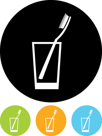 Toothbrush in a glass - Vector icon isolated Ilustração