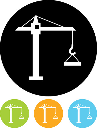 Tower crane lifting concrete slab - Vector icon isolated