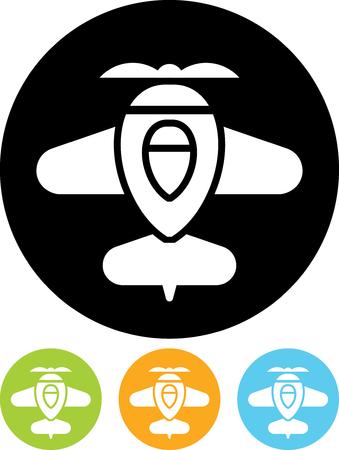 Cartoon Retro Airplane - Vector icon isolated Иллюстрация