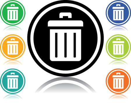 Vector icon isolated on white - Trash can Vettoriali
