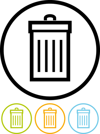 Vector icon isolated on white - Trash can Illustration