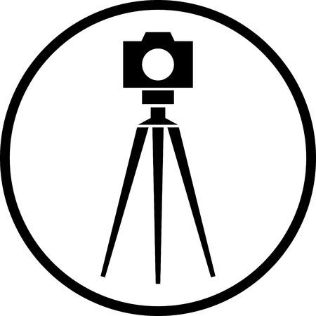 Tripod photo camera vector icon