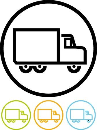 Vectordiepictogram op wit wordt geïsoleerd - leveringsvrachtwagen