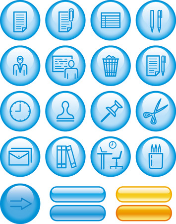 Office items web icons set