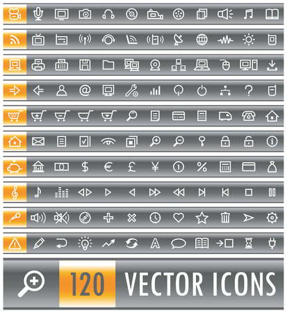 Set of 120 black grey gray vector web icons Illusztráció