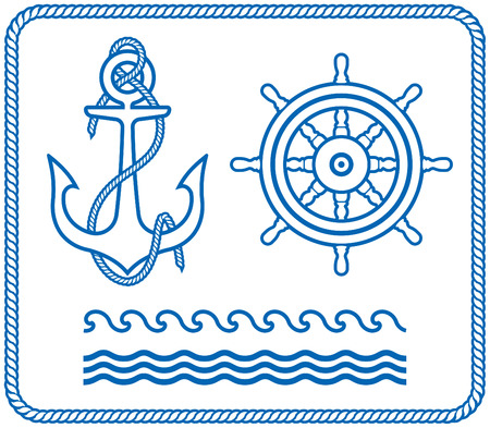 Marine nautical seafaring items - Anchor, steering wheel, waves, ropes frame