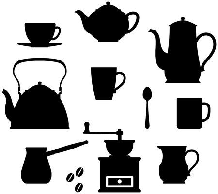 Kitchen items - teapots, coffee pot, cups, mugs etc. Illustration