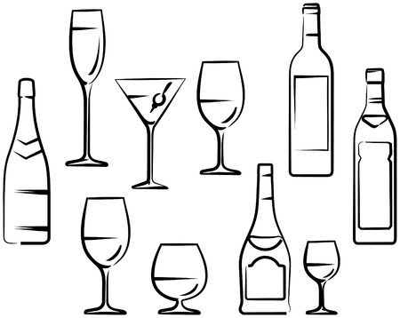 Bottles and glasses with wine and cocktails vector drawing 向量圖像