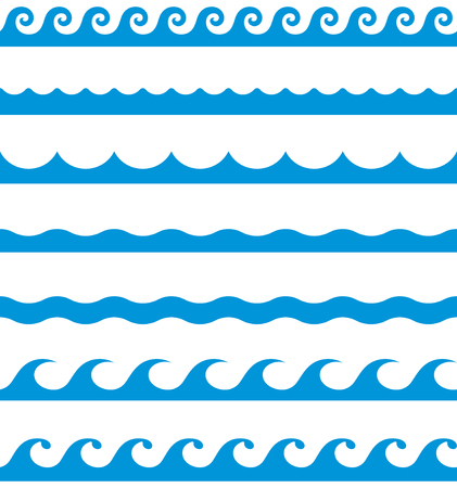 Water waves seamless border line patterns