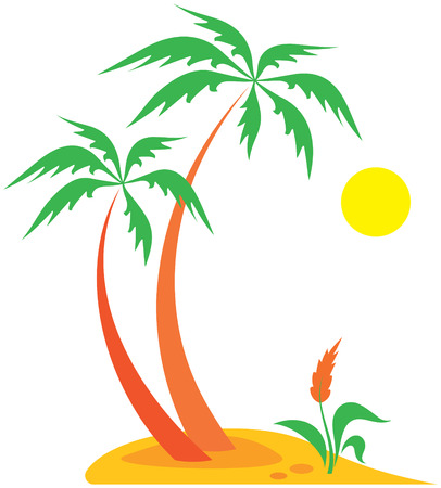 Tropical nature - palm tree, flower, sun
