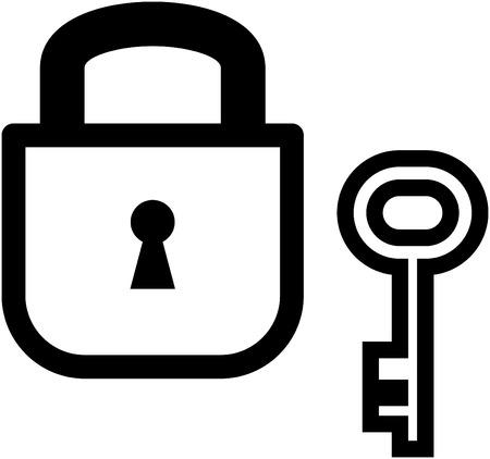 Vector padlock and key illustration Çizim