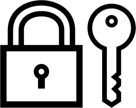 자물쇠 및 키 - 화이트 절연 벡터 아이콘