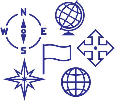 School geografie onderwijs pictogrammen - vector illustraties