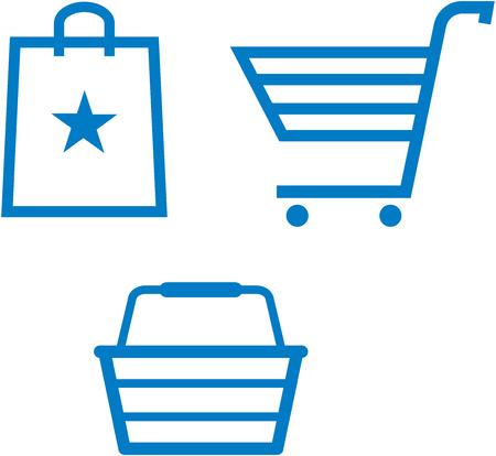 przedmiotów na zakupy - koszyk na zakupy, torby na zakupy i kosz na zakupy - ilustracji wektorowych