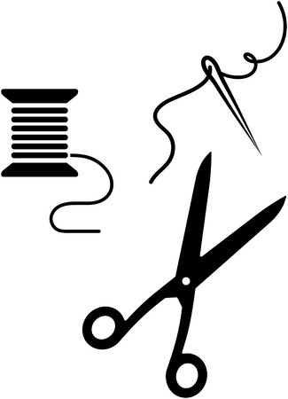 Sewing items - needle, thread, scissors. Vector illustration