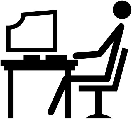 Office worker at his workplace at the office - simple vector illustration