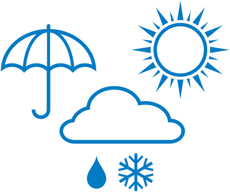 Weather report icons - sunny, cloudy, rainy weather. Vector illustration Illustration