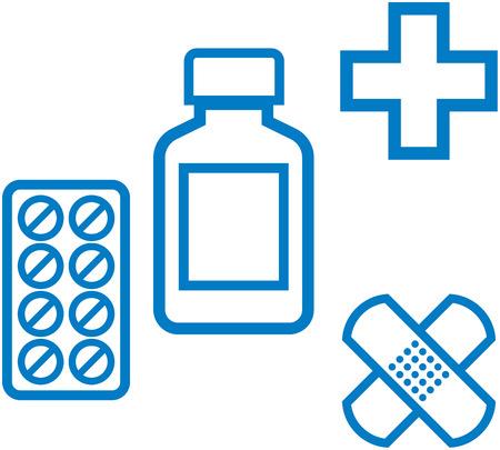 First aid kit. Medicine and pharmacy - Vector illustration Ilustracja