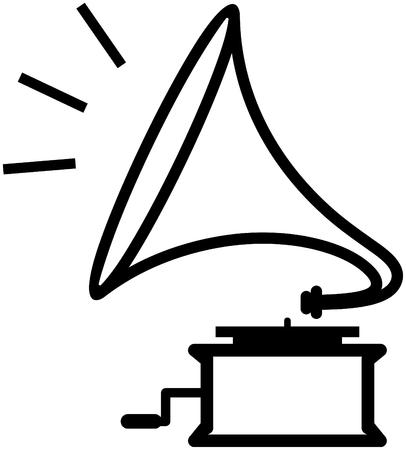 Gramophone playing music - Vectorpictogram