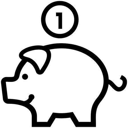 Piggy bank geld Vector pictogram Stock Illustratie