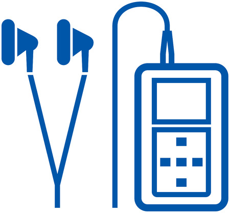 MP3 player earphones vector isolated 向量圖像
