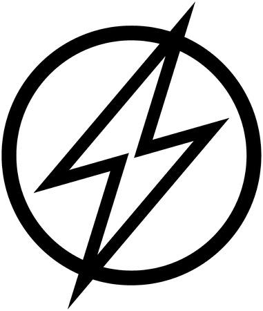 High voltage lightning vector sign