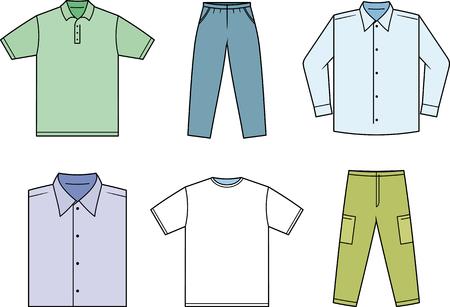 Herren Mann lässige Kleidung Kleiderschrank Vektor-Illustration isoliert Standard-Bild - 53564723