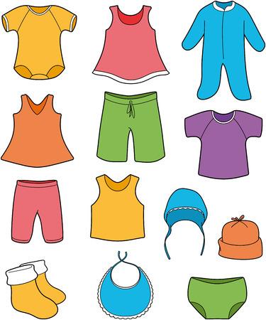 Baby-Kleidung - Vektor Farbe Illustration Vektorgrafik