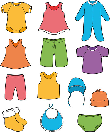 Baby clothes - vector color illustration