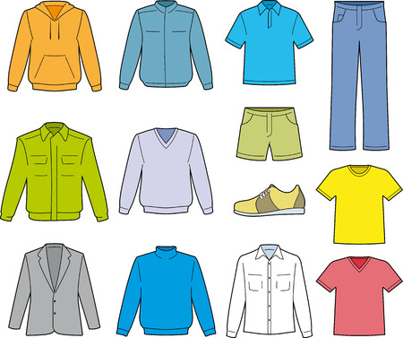 Men's man casual kleding illustratie geïsoleerde Stock Illustratie