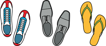 Shoes sports sneakers casual formal slippers - Vector Illustration