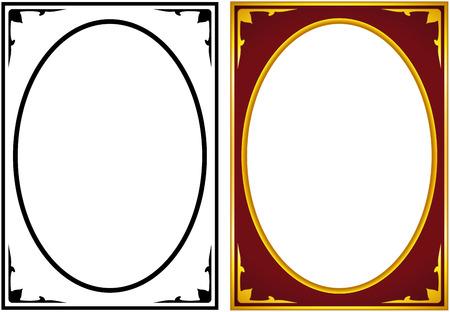 Oval frontière cadre photo déco. Vecteur simple, bordure verticale