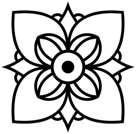 Mandala flower oriental tattoo logo vector isolated