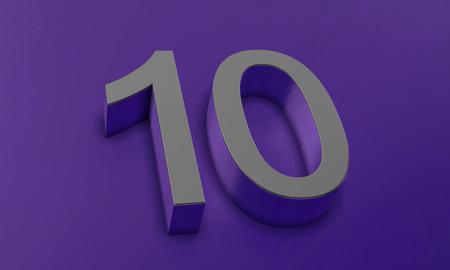Number Ten in 3D Banco de Imagens