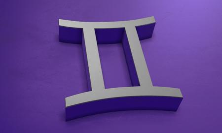 Gemini Astrology Symbol in 3D