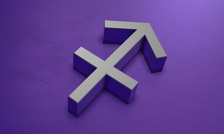 Sagittarius Astrology Symbol in 3D Banco de Imagens