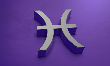 Pisces Astrology Symbol in 3D Stock Photo