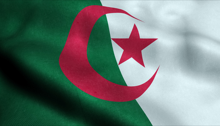 Algeria Waving Flag in 3D Banco de Imagens
