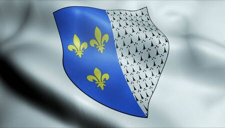 3D Waving France City Coat of Arms Flag of Brest Closeup View
