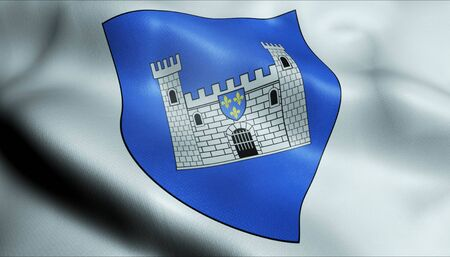 3D Waving France City Coat of Arms Flag of Carcassonne Closeup View