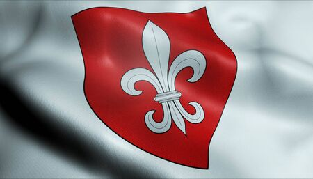 3D Waving France City Coat of Arms Flag of Lille Closeup View Stock Photo