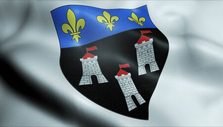 3D Waving France City Coat of Arms Flag of Tours Closeup View