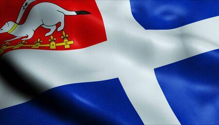 3D Waving France City Flag of Saint Malo Closeup View