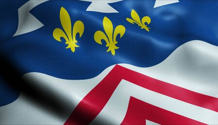 3D Waving France Department Coat of Arms Flag of Eure et Loir Closeup View
