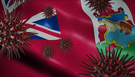 A coronavirus spinning with Bermuda flag behind as epidemic outbreak infection in Bermuda