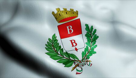 3D Illustration of a waving flag of Busto Arsizio (Italy country)
