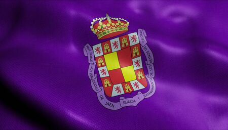 A waving flag of Jaen (Spain country)