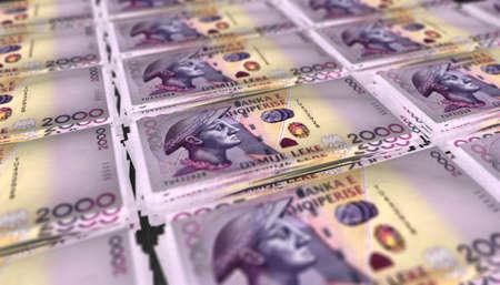 3D Illustration of 2000 Albania Lek Money Banknote