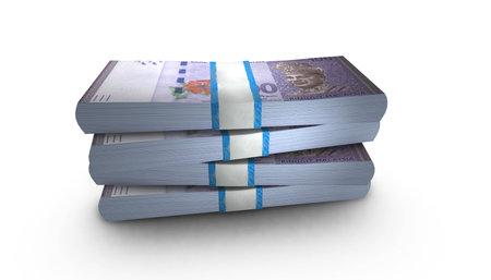 3D Malaysian ringgit bills stacks background Stock Photo