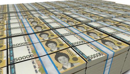 3D illustration of South Korean won bills stacks background Stockfoto